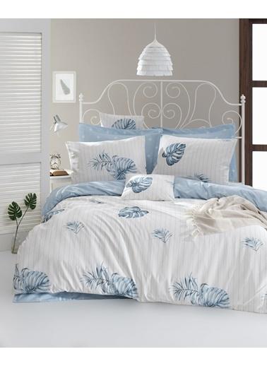EnLora Home Enlora %100 Doğal Pamuk Nevresim Seti Çift Kişilik Terezie  Mavi